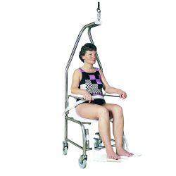 Kúpacia stolička určená na zdvíhanie do a von z vody v sedacej polohe., ktorá je odolná voči soliam a chlóru. Zdvihový objem do 255kg.